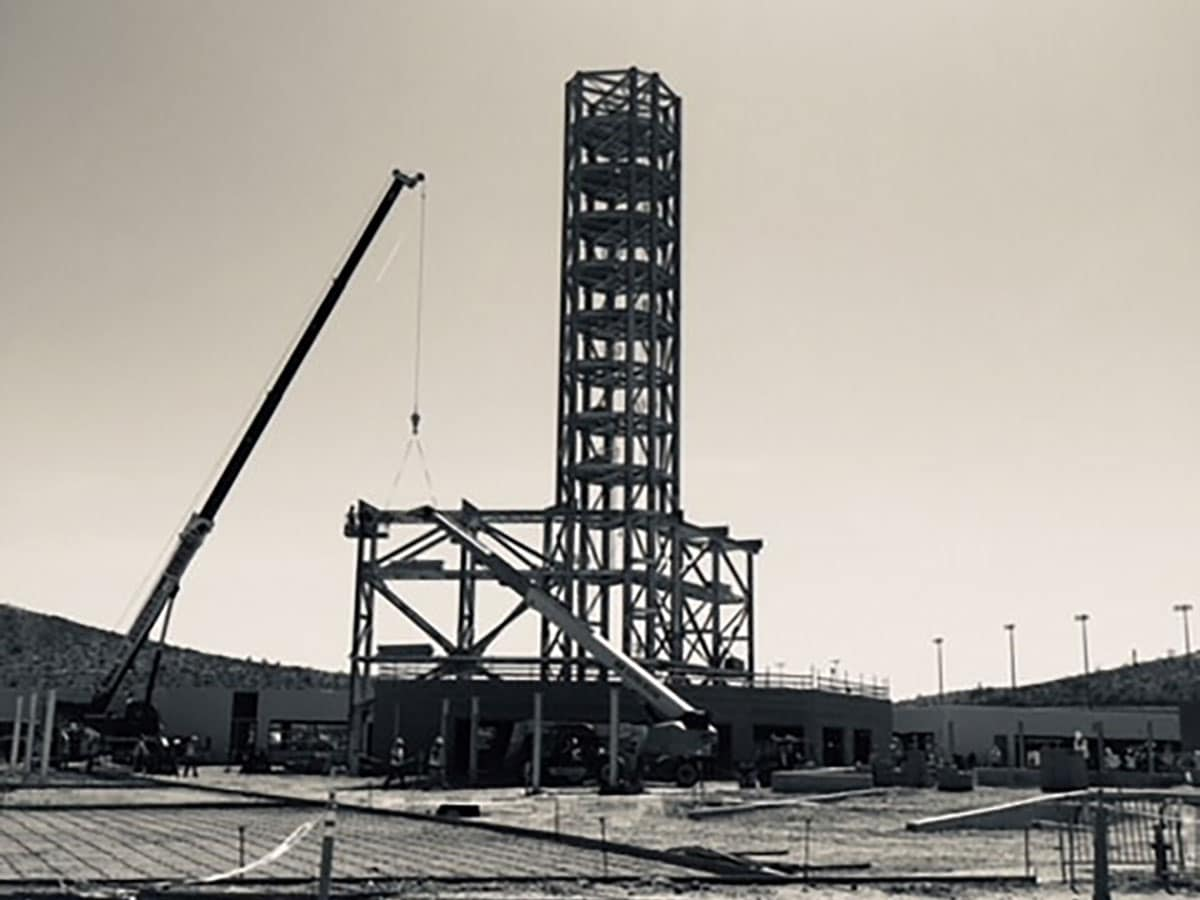 older picture of a circular steel construction
