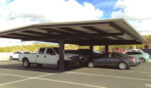 Metal parking shade structure